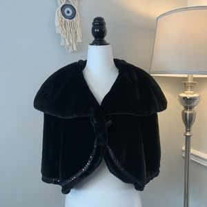 Black Faux Fur & Sparkly Trim Shawl